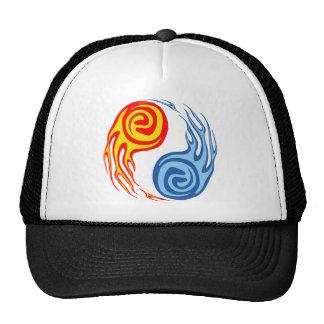Hot & Cold - Fire & Water Yin Yang Tattoo Mesh Hats