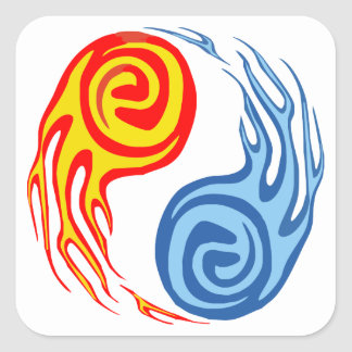 Hot & Cold - Fire & Water Yin Yang Tattoo Square Sticker