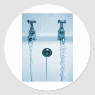 Hot & Cold Water, Bath time, Running Faucets Classic Round Sticker