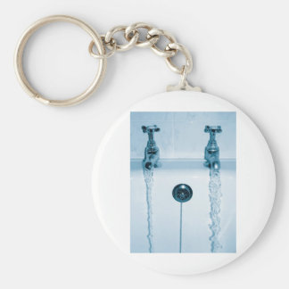 Hot & Cold Water, Bath time, Running Faucets Basic Round Button Keychain
