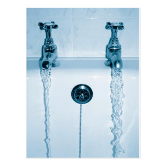 Hot & Cold Water, Bath time, Running Faucets Postcard