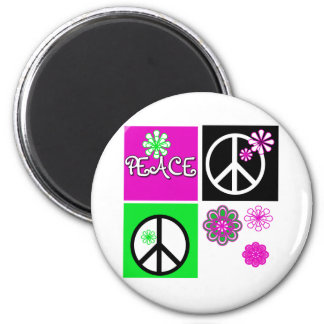 Hot Colors Peace 2 Inch Round Magnet