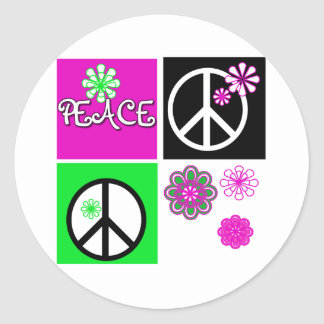 Hot Colors Peace Classic Round Sticker