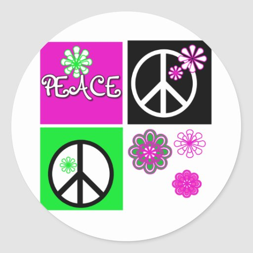 Hot Colors Peace T-shirts and Gifts Round Stickers