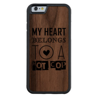 """""""HOT COP"""" COOL POLICE OFFICER TYPOGRAPHY GIFT CARVED WALNUT iPhone 6 BUMPER CASE"""