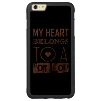 """""""HOT COP"""" COOL POLICE OFFICER TYPOGRAPHY GIFT CARVED WALNUT iPhone 6 PLUS BUMPER CASE"""