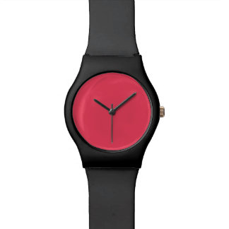 Hot Coral Pink Personalized Neon Salmon Background Wristwatch