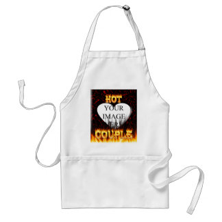 Hot Couple fire and red marble heart. Adult Apron