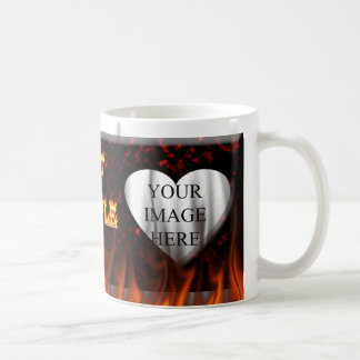 Hot Couple fire and red marble heart. Coffee Mug