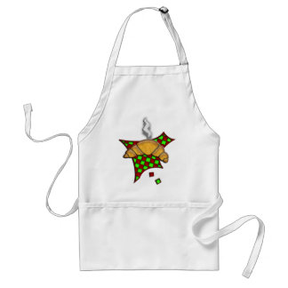 Hot Croissant on checkered tablecloth Adult Apron