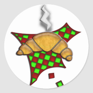 Hot Croissant on checkered tablecloth Classic Round Sticker