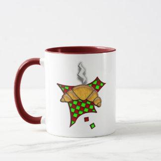 Hot Croissant on checkered tablecloth Mug