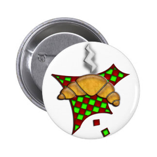 Hot Croissant on checkered tablecloth Pinback Button