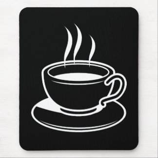 Hot Cup of Coffee - Black Mouse Pad