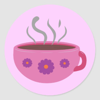 Hot Cup of Coffee Classic Round Sticker