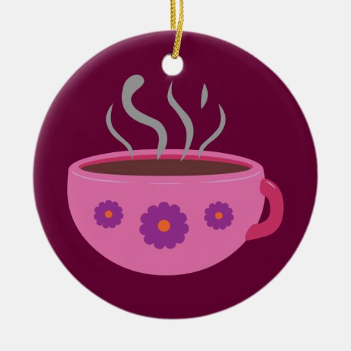 Hot Cup of Coffee Double-Sided Ceramic Round Christmas Ornament