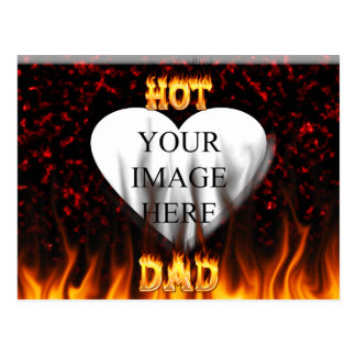 Hot dad fire and red marble heart postcard