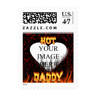 Hot Daddy fire and red marble heart Postage