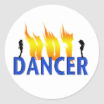 Hot Dancer and Flames Round Stickers