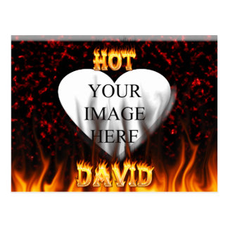 Hot David fire and flames red marble. Postcard