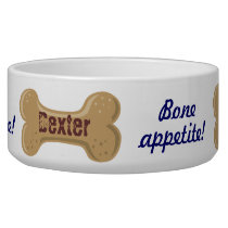 Hot Diggity_Bone Appetite_personalized Dog Bone 2 Bowl