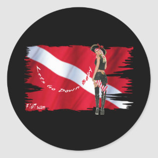 Hot Dive Babes in Bikini s Round Stickers