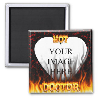 Hot Doctor fire and flames red marble 2 Inch Square Magnet