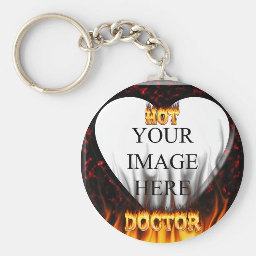 Hot Doctor fire and flames red marble Basic Round Button Keychain