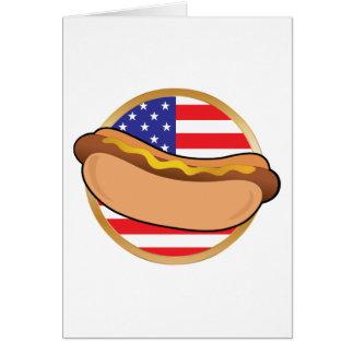 Hot Dog American Flag Card