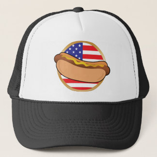 Hot Dog American Flag Trucker Hat