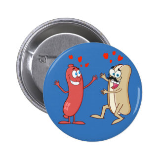 Hot Dog and Bun - Love at First Sight Pinback Button