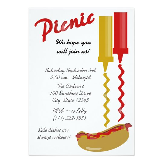 Hot Dog and Condiments Invitation