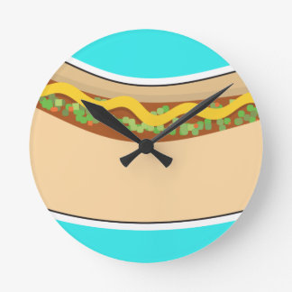 Hot Dog and Relish Round Clock