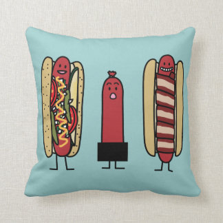 Hot dog bros. Chicago style Bacon wrapped wiener Throw Pillow