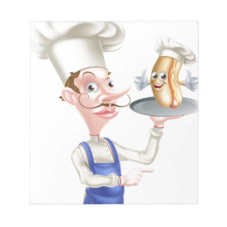 Hot Dog Cartoon Chef Pointing Notepad