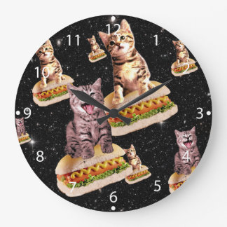 hot dog cat invasion large clock