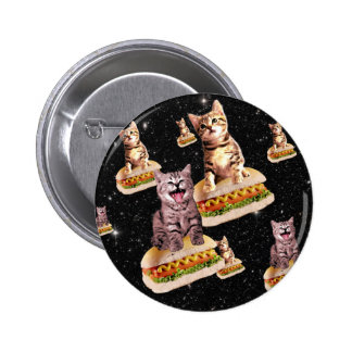 hot dog cat invasion pinback button