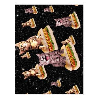 hot dog cat invasion postcard