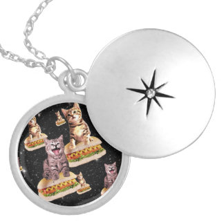 hot dog cat invasion silver plated necklace