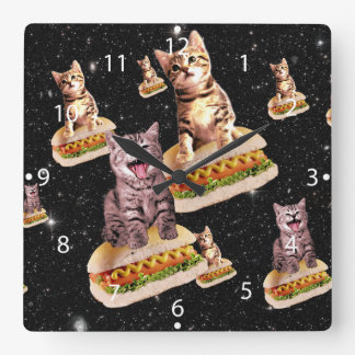 hot dog cat invasion square wall clock