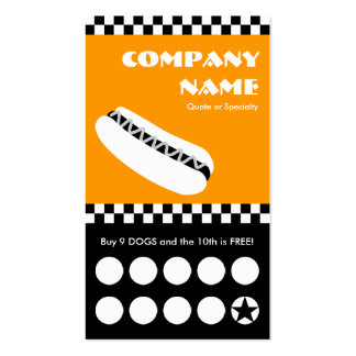 hot dog checkers punchcard Double-Sided standard business cards (Pack of 100)