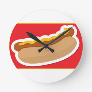 Hot Dog Round Wall Clocks
