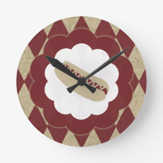 hot dog diamonds round clock