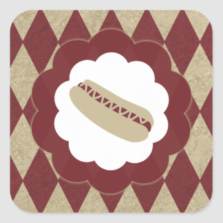 hot dog diamonds square sticker