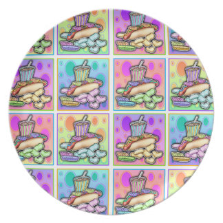 Hot Dog Fast Food Pop Art Plate