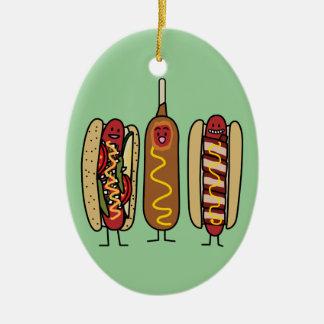 Hot Dog Friends Ceramic Ornament
