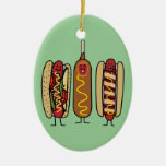 Hot Dog Friends Double-Sided Oval Ceramic Christmas Ornament