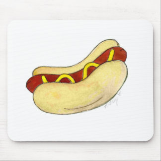 Hot Dog Hotdog w/ Mustard on Bun Food Mouse Pad