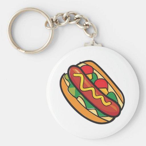 hot dog in bun keychain