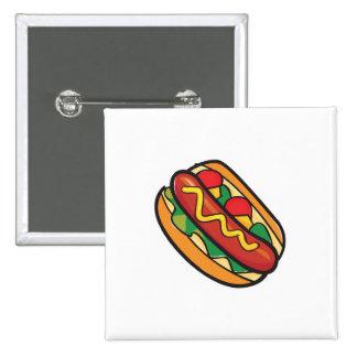 hot dog in bun pinback button